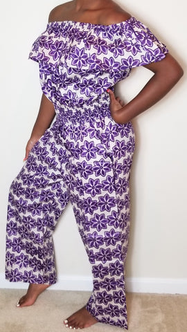 Purple and White Jumpsuit