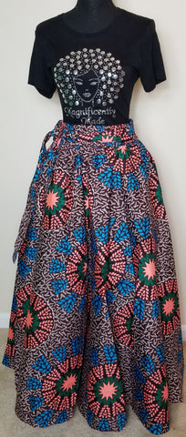 Brown Blue Pink and Green Long Skirt
