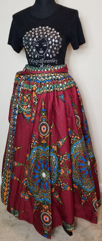 Cranberry Blue and Orange Long Skirt