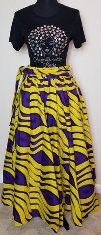 Yellow and Purple Long Skirt