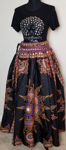 Black Red Blue and Green Long Skirt