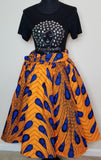 Orange and Blue Short Skirt