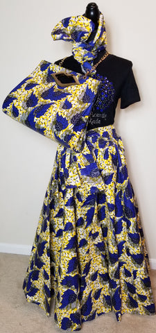 3 Piece Royal Blue and Yellow Maxi Skirt Set