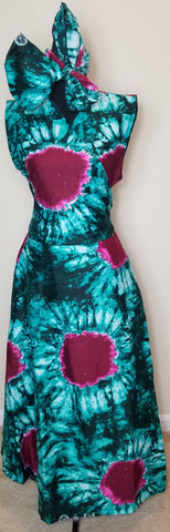 Pink and Sea Green Tie Dye Wrap Dress