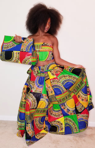 3 Piece Multicolor Maxi Skirt/Clutch Set
