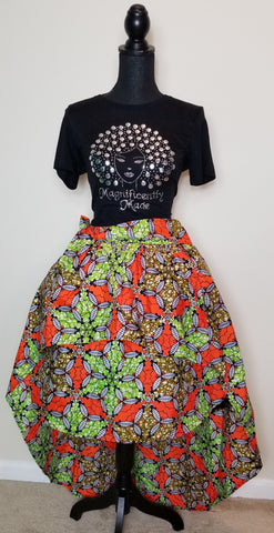 Orange Green & Brown Hi Low Skirt