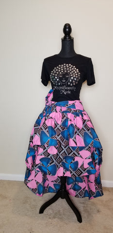 Blue & Baby Pink Hi Low Skirt