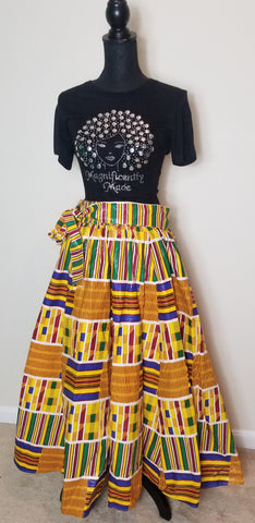 Yellow Multicolor Long Skirt