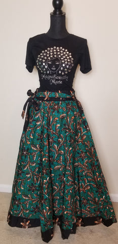 Foam Green Brown and Black Long Skirt