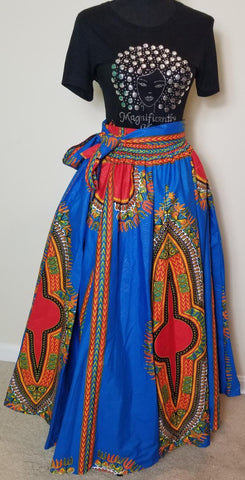 Blue Dashiki Long Skirt