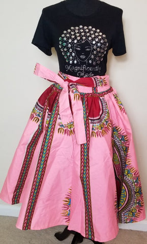 Pink Dashiki Short Skirt