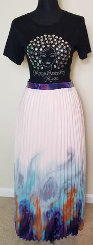 Soft Pink & Multicolor Long Skirt