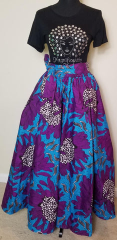 Purple Blue White Long Skirt
