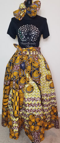 Yellow Black Long Skirt