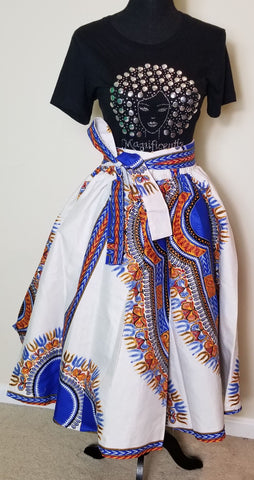 White Dashiki Short Skirt