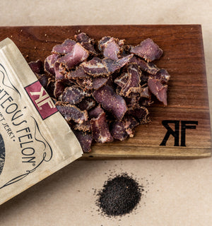 Righteous Felon Black Garlic Biltong 2oz (8ct)