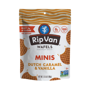 Rip Van Dutch Caramel & Vanilla Mini Stroopwafel Cookies Pouch 3.55oz (6ct)