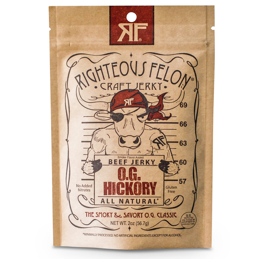 Righteous Felon O.G. Hickory Beef Jerky Half-Pound Bulk Bag 8oz (4ct)