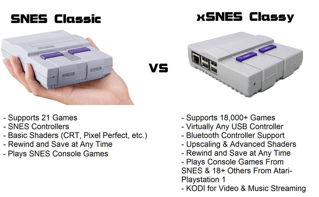 comparison between xSNES Classy and the SNES Classic