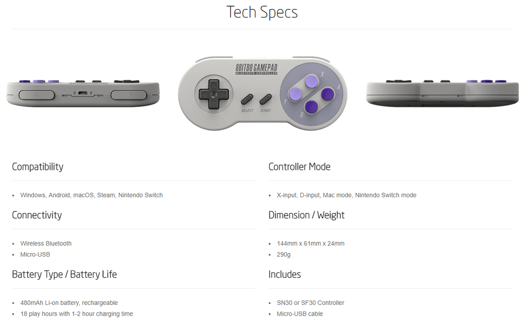 Technical Specifications Wireless Bluetooth Retro SNES Controller Best Top 10 8bitdo Lowest Price