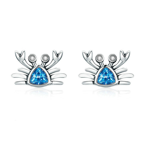 Blue Ocean Crab Stud Earrings