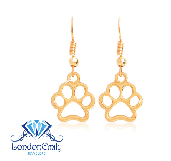 Paw Print Earrings (Gold)