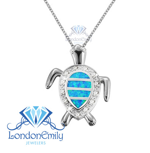 LondonEmily Jewelers Blue Turtle Necklace