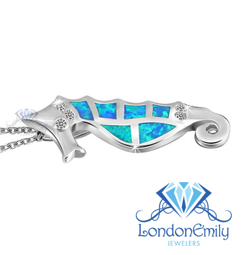 LondonEmily Jewelers Blue Seahorse necklace