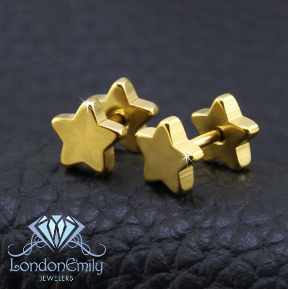 Yellow Gold Star Stud Earring