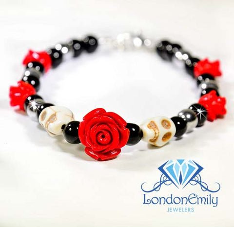 5 Red Rose Sugar Skull Bracelet