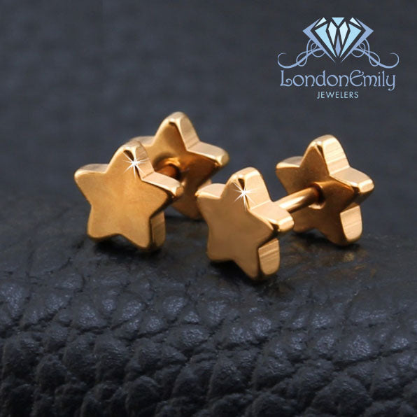 Rose Gold Star Stud Earring
