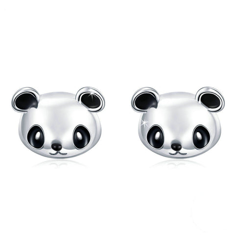 Cute Panda Bear Stud Earrings .925 Sterling Silver