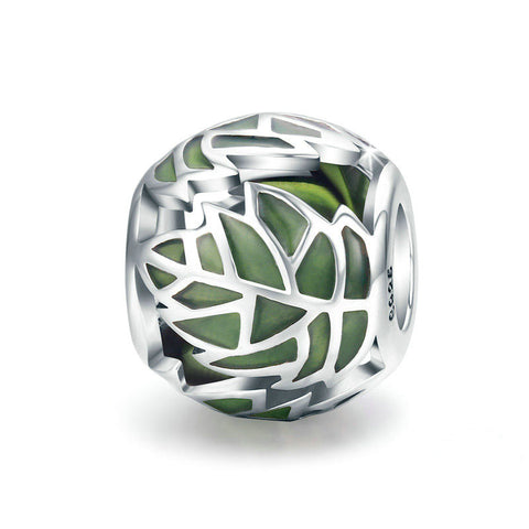 Evergreen Leaf Charm 925 Sterling Silver