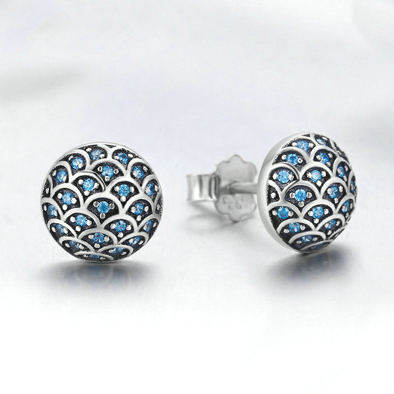 Mermaid Ball Stud Earrings in .925 Sterling Silver