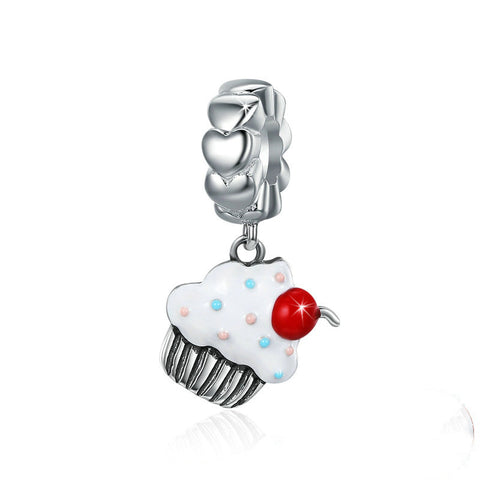With A Cherry On Top Cup Cake Charm .925 Sterling Silver