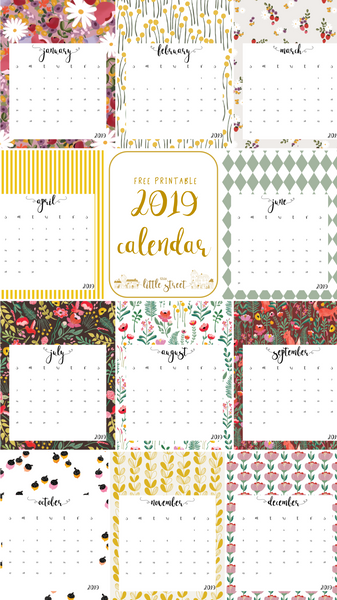 photo relating to Calendar Free Printable named 2019 Calendar - cost-free printable This Minor Road