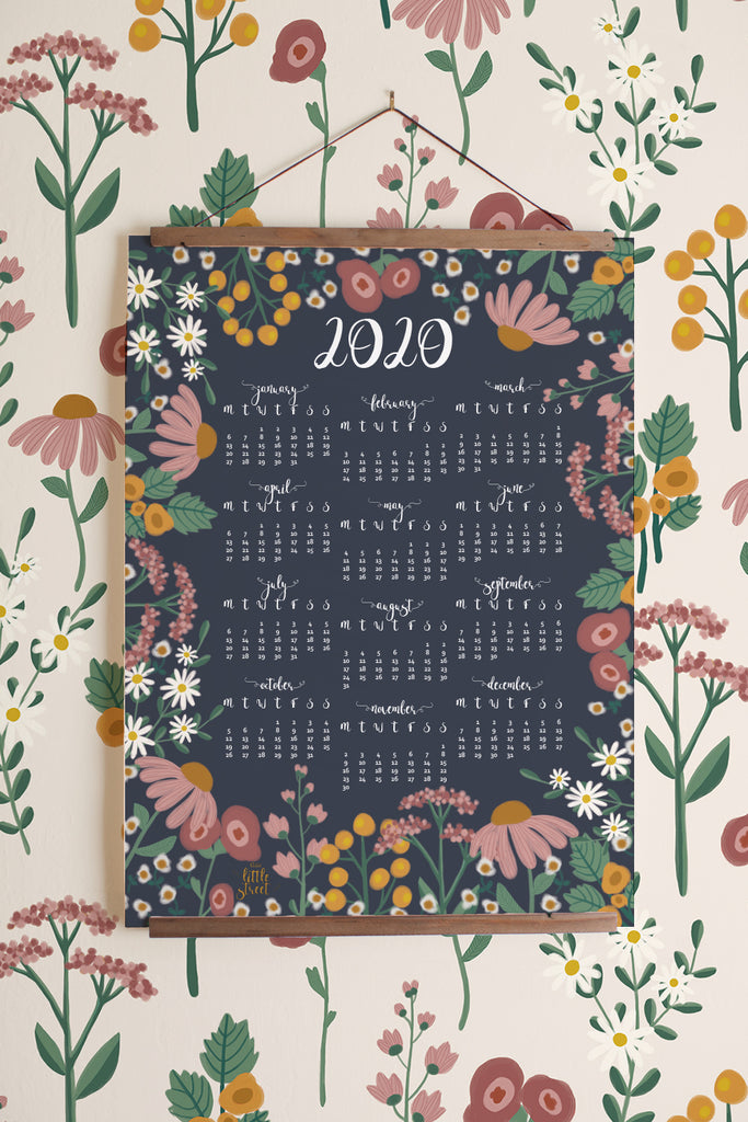 2020 Year at a Glance Calendar (Navy or Teal) - 11x14 print