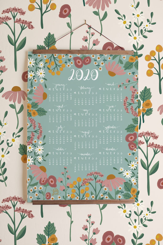 2020 Year at a Glance Calendar (Navy or Teal) - Instant download