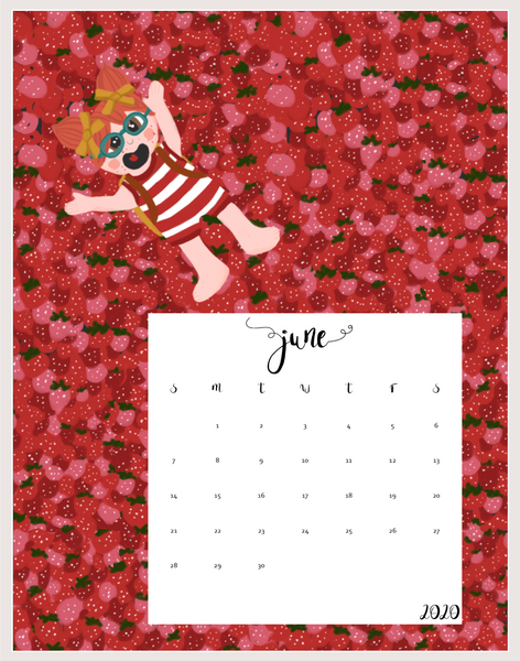 2020 Lily Huckleberry Printable calendar - Instant download