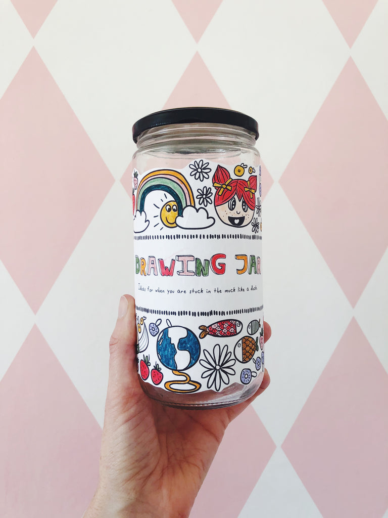 Drawing Jar - printable label & fun prompts for kids (Instant download)