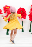 Frill sleeve twirl dress in mustard