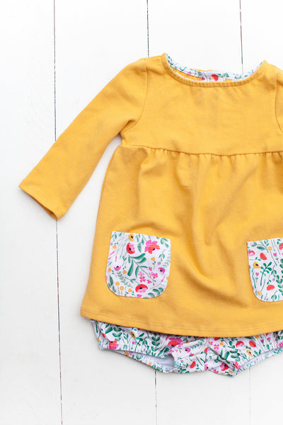 Top with pockets in mustard yellow/folk pockets