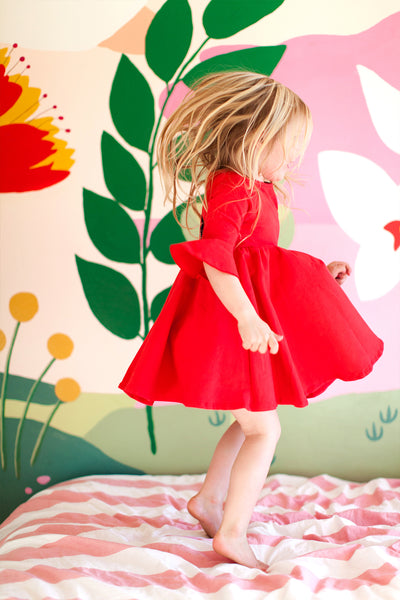 Frill sleeve dress in spicy red