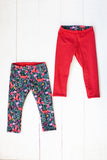 Reversible leggings in fox floral/spicy red
