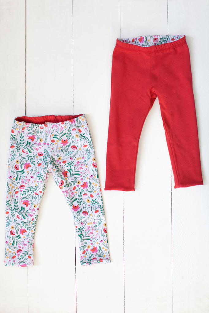 Reversible leggings in folk floral/spicy red