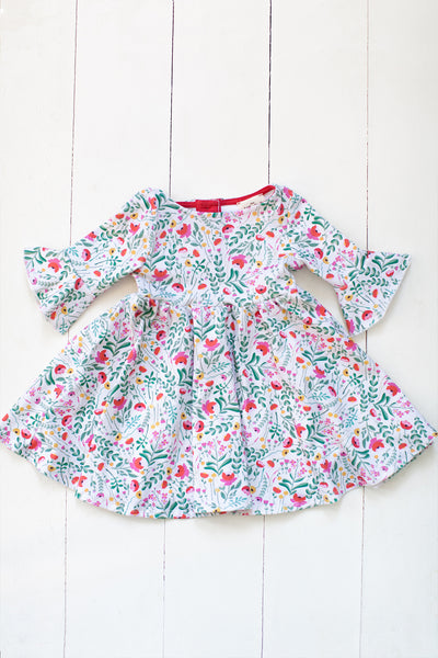 Frill sleeve twirl dress in Folk Floral