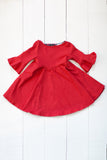 Frill sleeve twirl dress in spicy red