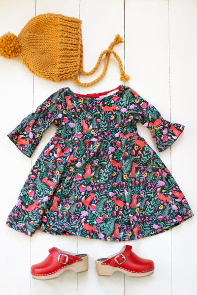 Frill sleeve twirl dress in fox floral