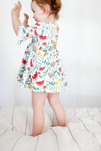 Frill sleeve twirl dress in Wonderland floral