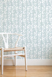 Frosted leaves removable wallpaper - ice blue